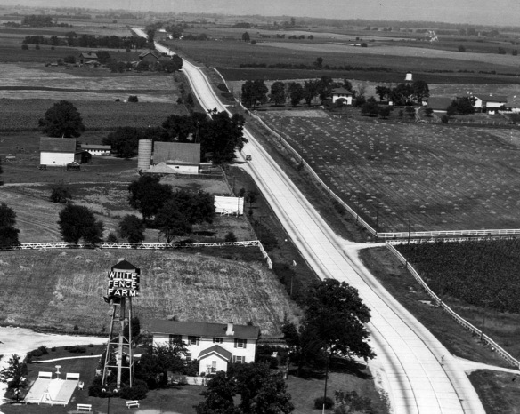 White Fence Farm, lower left, with the Hassert homestead, upper left, and part of the Peabody Arrow Brook Farm, upper right, circa 1939 (1939 aerial survey)