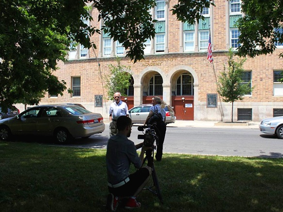 "Us making the film ""Remebering Jewish Lawndale;"" L: Dr. Irving Cutler, R: Maria R. Traska, interviewer; foreground: videographer Luke Ronne.   (Photo copyright 2012 by Keith Yearman)"