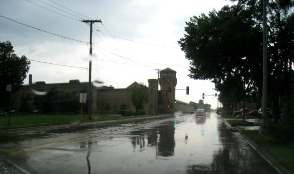 Collins Street Prison in the rain.  Photo copyright 2012 by M.R. Traska; all rights reserved.