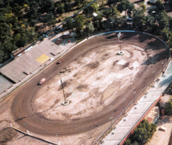 Aerial view of Santa Fe Speedway, 1987, by Mick O'Heron - IPPL