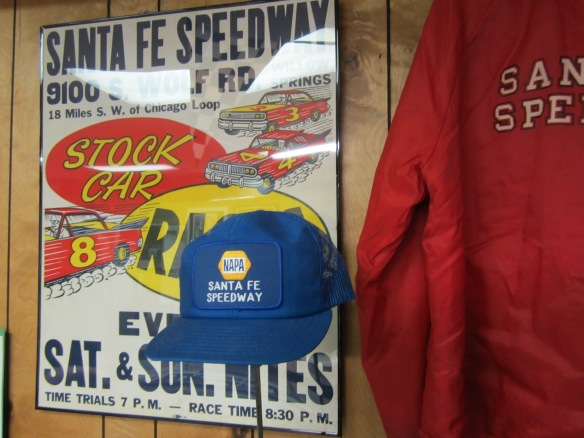 Santa Fe Speedway exhibit at Flagg Creek Heritage Society Museum, Burr Ridge, IL  Photo copyright 2013 by J.D. Kubal; all rights reserved