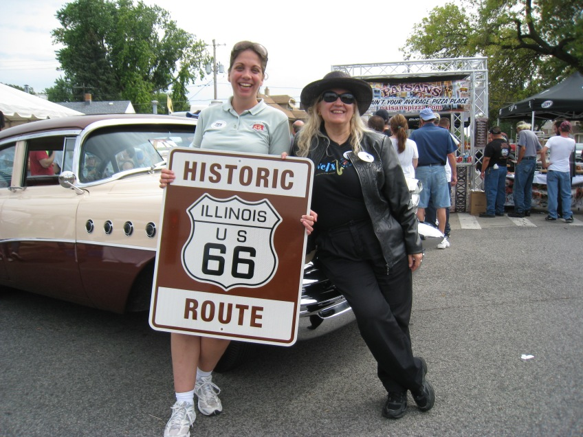 Stacy Conn of the IL Route 66 Scenic Byway (L) and yours truly at the 2013  Berwyn Route 66 Car Show.  Photo copyright 2013 by M.R. Traska; all rights reserved.