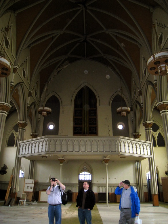 Inside St. Mary Carmelite:  Keith Yearman (L), developer Scott Henry (center), Joe Kubal (R).   Photo copyright 2012 by M.R. Traska; all rights reserved.