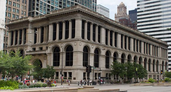 The Chicago Cultural Center was originally the central library of the Chicago Public Library, designed by Shepley, Rutal & Coolidge.  Photo courtesy of Wikimedia Commons.