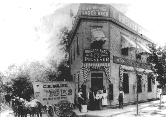 Hofmann triangle building as a saloon, circa 1870s-1900; photo taken from documentation for the HAER report on Hofmann Tower dam (available online).
