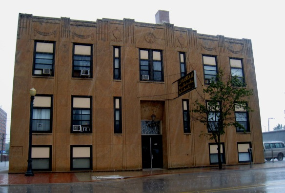 Joliet's historic KSKJ Building (1939).  Photo copyright 2014 by M.R. Traska; all rights reserved.