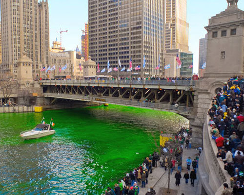'Tis the coming of the green:  dyeing the Chicago River for St. Patrick's Day is an old and hallowed tradition undertaken by (are you ready for this?) the plumbers' union.  (Photo courtesy of ChooseChicago.com)