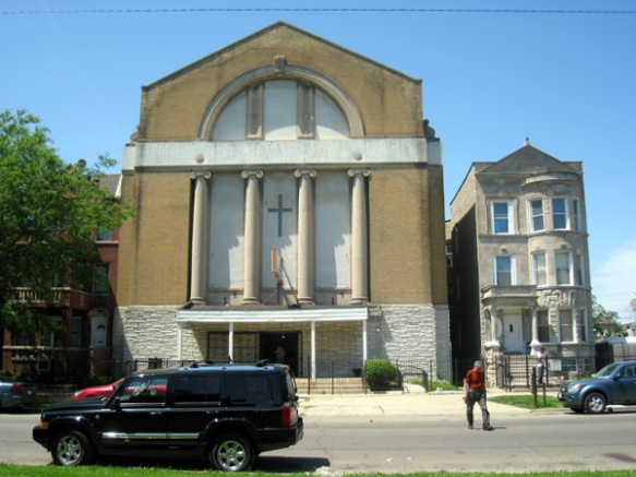 Greater Galilee M.B. Church, a former synagogue  (Photo copyright 2013 by M.R. Traska; all rights reserved)