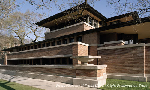 Frank Lloyd Wright's forward-looking Robie House, completed in 1908  (Photo courtesy of the FLW Preservation Trust)