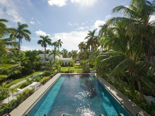 Looking back at the house from the cabana balcony near the dock (photo courtesy of Curbed Miami)