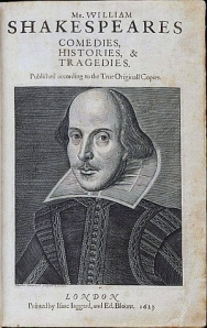 Shakespeare's engraved portrait by Martin Droeshaut on his First Folio, 1613