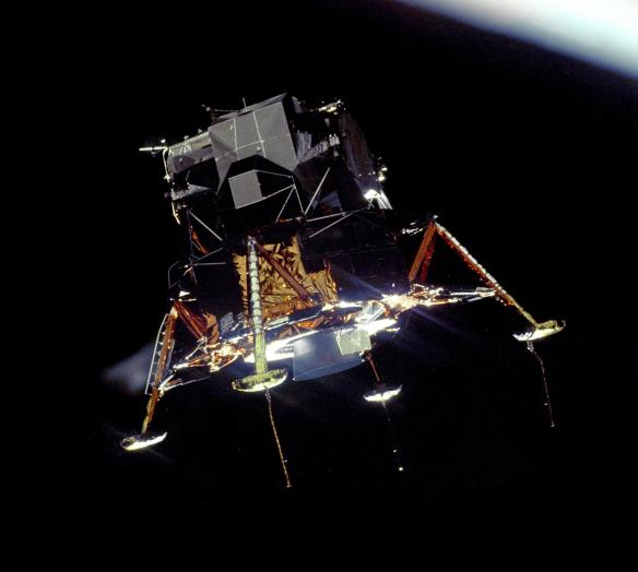 Apollo 11 Lunar Module Eagle detached from the space capsule Columbia in lunar orbit, before descending to the moon's surface, July 20, 1969   (Photo courtesy of NASA)