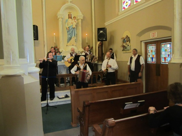 The Polka Mass-ters oompah their hearts out at St. Joseph Catholic Church in Joliet, IL . (Photo copyright 2014 by J.D. Kubal; all rights reserved)