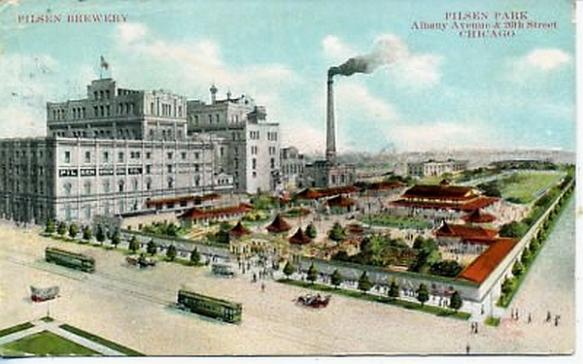 Postcard image of Pilsen Brewing Co. and Pilsen park, Chicago, circa 1920