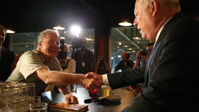 Tony Magee shaking w Gov Quinn at Lag-Chi taproom opening - large