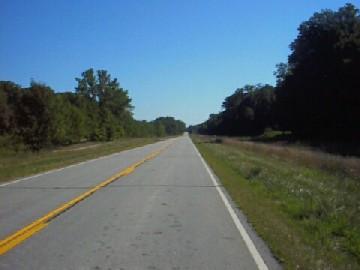 Historic U.S. Route 66 southbound in Funks Grove