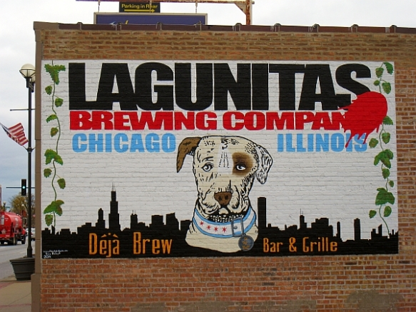 Lagunitas Chicago billboard sporting some very Chicago tailoring at Deja Brew in Oak Lawn  (photo copyright 2014 by M.R. Traska; all rights reserved)
