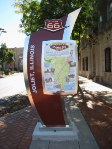An Illinois Route 66 Scenic Byway information hub in Joliet, IL  (photo copyright 2013 by M.R. Traska; all rights reserved)