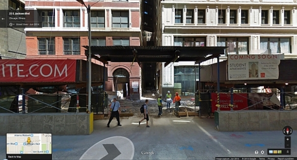 Pickwick Court sandwiched in between the Gibbons Building (L) and the Steger Building (R) during the renovation.  (courtesy of Google street view)