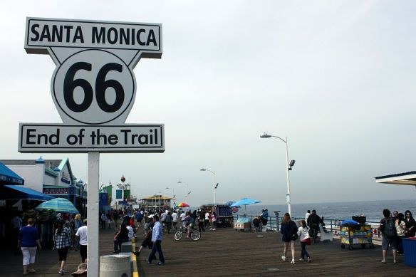 The end of route sign in Santa Monica.