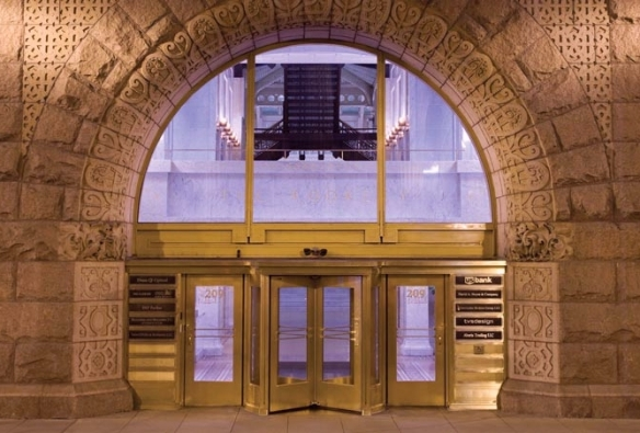 Rookery Building - entrance arch at night, crop (TheRookeryBuilding.com)