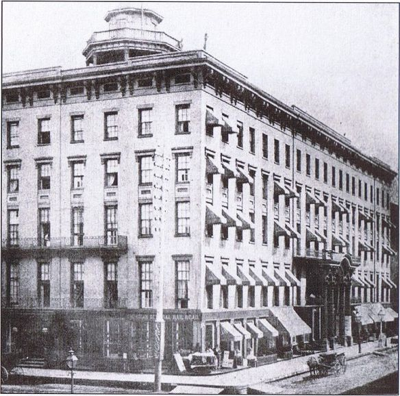 The Tremont House, designed by John M. Van Osdel, during the years before the Great Chicago Fire of 1871
