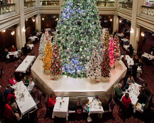 The Walnut Room at Christmas in Marshall Field's, now Macy's