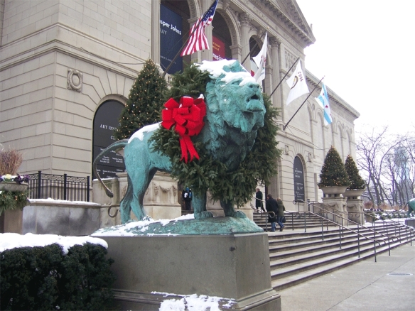 The north lion in front of the Art Institute of Chicago