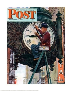 """""""The Clock Mender"""" by Norman Rockwell"""
