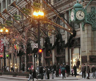 Marshall Field's flagship store at Christmas time, circa 1999, State Street, Chicago