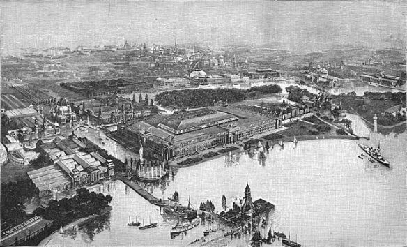 A print of an aerial view of the 1893 World's Columbian Exhibition in Jackson Park, Chicago (originally published by F.A. Brockhaus, Berlin and Vienna; public domain)