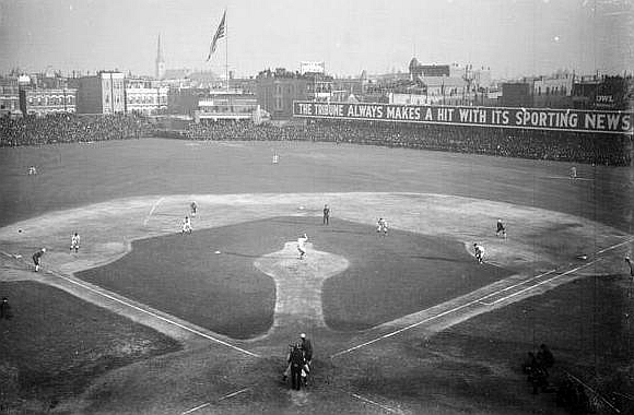The 1906 World Series being played at West Side Park. This was the only time when the Cubs and White Sox played a crosstown World Series. (photo courtesy of the Library of Congress photo archives)