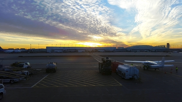 1 – Our Cessna Caravan loading up at dawn, O'Hare Airport  (photo copyright 2015 by K. Yearman; all rights reserved)