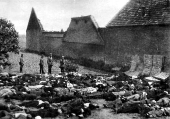 Massacred men of Lidice at the Horák family farm.