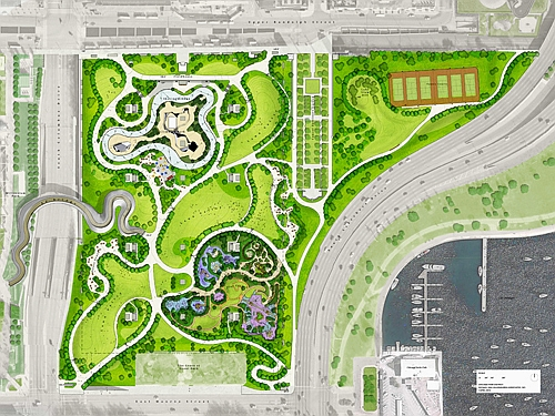 Maggie Daley Park aerial map rendering (Chgo Park District)