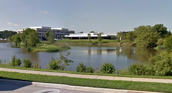 Schustek Pond in Burr Ridge, IL from Joliet Road/N. Frontage Road (Google street view)