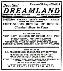 Dreamland poster for Lil Hardin Armstrong's band